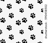 paw print seamless. traces of... | Shutterstock .eps vector #590458502