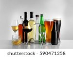 glasses of wine and spirits on... | Shutterstock . vector #590471258