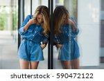 street style. beautiful woman... | Shutterstock . vector #590472122