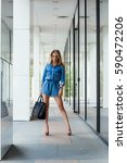 street style. beautiful woman... | Shutterstock . vector #590472206