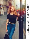 street style. beautiful woman... | Shutterstock . vector #590472302