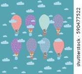 animal in a balloon | Shutterstock .eps vector #590477522