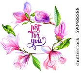 wildflower magnolia flower...   Shutterstock . vector #590488388