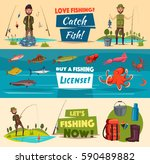 fishing banner set with...