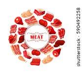 fresh meat cuts symbol. beef... | Shutterstock .eps vector #590492258