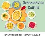scandinavian cuisine dinner...   Shutterstock .eps vector #590492315