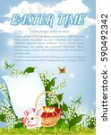 easter time poster of paschal...   Shutterstock .eps vector #590492342