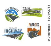 road  highway  freeway and... | Shutterstock .eps vector #590493755