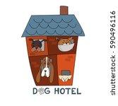 hotel for dogs. vector... | Shutterstock .eps vector #590496116