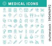 a set of simple outline medical ... | Shutterstock .eps vector #590496992