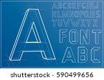 wireframe alphabet font.... | Shutterstock .eps vector #590499656