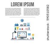 modern home office interior.... | Shutterstock .eps vector #590510582