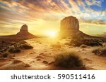 sunset at the sisters in... | Shutterstock . vector #590511416