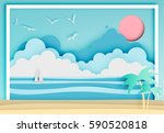 beautiful beach paper art style ... | Shutterstock .eps vector #590520818