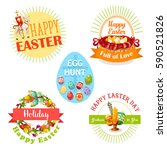 easter holiday and egg hunt... | Shutterstock .eps vector #590521826