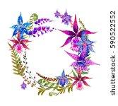 watercolor wreath of fresh...   Shutterstock . vector #590522552