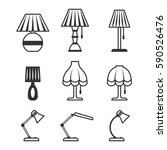 Set Of Table Lamp Icons. Vecto...