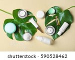natural cosmetics and leaves on ... | Shutterstock . vector #590528462