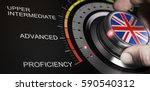 Small photo of Man turning button with english flag up to proficiency level. Scale of language and progress measurement concept. Composite image between a hand photography and a 3D background.