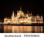 night view of illuminated... | Shutterstock . vector #590550842