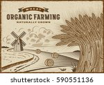 wheat organic farming landscape.... | Shutterstock .eps vector #590551136