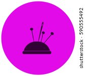 pincushion with pins vector ... | Shutterstock .eps vector #590555492