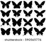 butterfly silhouette set | Shutterstock .eps vector #590565776