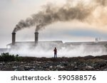 air pollution with black smoke... | Shutterstock . vector #590588576