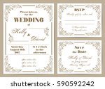 set of wedding cards in retro... | Shutterstock .eps vector #590592242