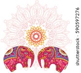 Two Elephants Over Mandala...