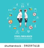 fitness  sport  food  health... | Shutterstock .eps vector #590597618