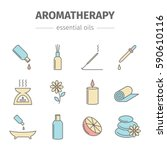aromatherapy oils colored set.... | Shutterstock . vector #590610116