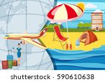 travel tourism concept. cartoon ... | Shutterstock .eps vector #590610638