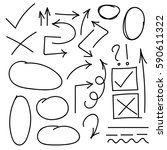 hand drawn arrows  check mark ... | Shutterstock .eps vector #590611322