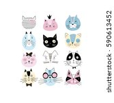 graphic cat faces set | Shutterstock .eps vector #590613452