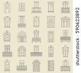 vector set of black  thin line... | Shutterstock .eps vector #590623892