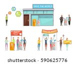 charity design concept with... | Shutterstock .eps vector #590625776