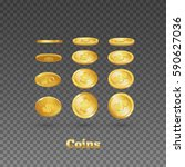 gold coins falling down. icon... | Shutterstock .eps vector #590627036
