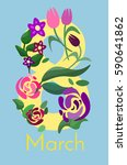 congratulations on march 8.... | Shutterstock .eps vector #590641862
