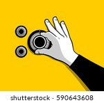 thief hand opening safe | Shutterstock .eps vector #590643608