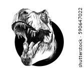 dinosaur head sketch vector in... | Shutterstock .eps vector #590647022