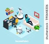 household robots isometric... | Shutterstock .eps vector #590648306