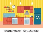 kitchen with furniture. cozy... | Shutterstock .eps vector #590650532