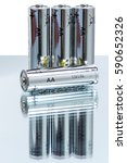 Small photo of Four alkaline AA batteries LR6 on white background. Energy supply equipment.