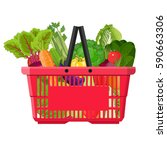 full basket with different... | Shutterstock .eps vector #590663306