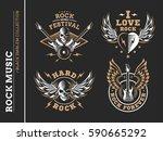 rock music festival logo ... | Shutterstock .eps vector #590665292