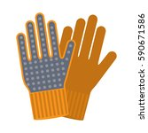 two work gloves. an icon in a... | Shutterstock .eps vector #590671586