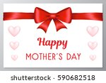 mother's day card with red bow... | Shutterstock .eps vector #590682518