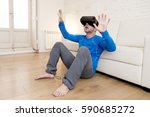 young modern man at home living ... | Shutterstock . vector #590685272