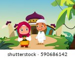 a vector illustration of muslim ... | Shutterstock .eps vector #590686142